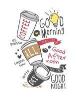 café dessiné à la main toute la journée