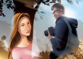 Dame et photographe à travers une vitre d'un café vecteur