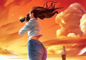 photographe dans un beau coucher de soleil