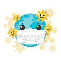 planète portant un masque facial contre le coronavirus