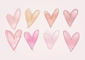 Coeurs dessinés à main vecteur