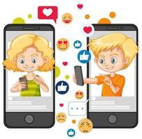concept d'interaction avec les médias sociaux