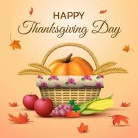 conception de panier joyeux jour de Thanksgiving vecteur