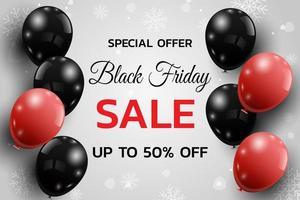 affiche de vente vendredi noir avec des ballons