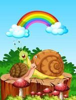 deux escargots heureux à l'extérieur avec arc en ciel