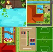 ensemble de scène de piscine aérienne et terrain de basket vecteur