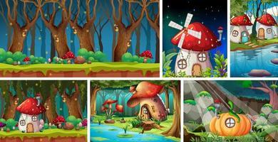 six scènes différentes du monde fantastique vecteur