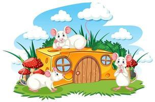 maison de fromage avec scène de trois rats blancs vecteur