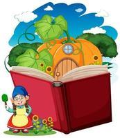 gnome et maison de citrouille avec livre pop-up