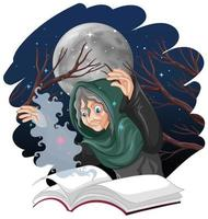 vieille sorcière avec sort et livre