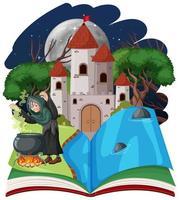 sorcière sur un livre pop-up fantastique