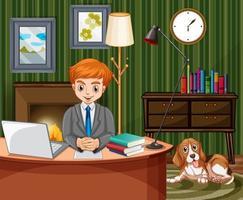 scène avec homme travaillant sur ordinateur à la maison vecteur