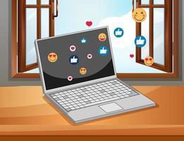cahier avec des icônes de médias sociaux