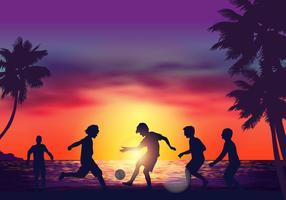 Jeu de football de plage vecteur