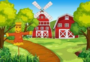 scène de ferme avec épouvantail et moulin à vent vecteur