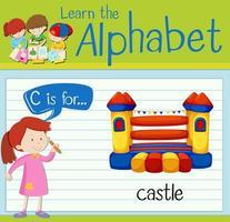 flashcard lettre c est pour le château vecteur