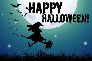 joyeux halloween signe avec sorcière sur balai