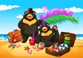 deux ours profitent de l'été sur la plage vecteur