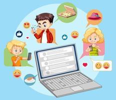 ordinateur portable avec des icônes emoji de médias sociaux