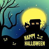 nuit d'halloween avec maison hantée