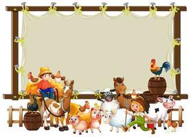 cadre en bois en toile avec ensemble de ferme d'animaux vecteur