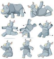 ensemble de rhinocéros vecteur