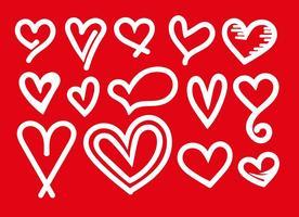 Ensemble vectoriel d'icônes de coeur blanc