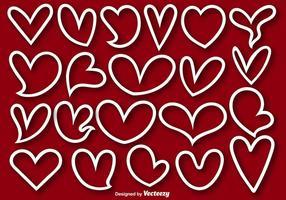 Collection de 21 formes bordées de coeurs - vecteur