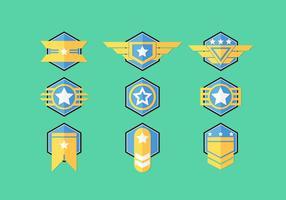 Ensembles de dessins à badges de brigadier vecteur