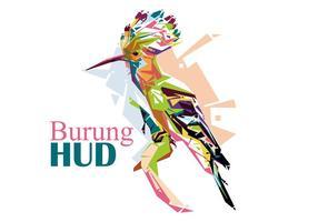 Burung hud - popart portrait vecteur