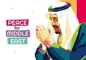 La paix pour le Moyen-Orient - Popart Portrait vecteur