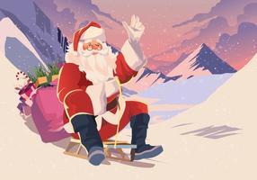 Père Noël en train de luge vecteur