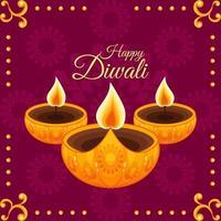 illustration de diwali or violet