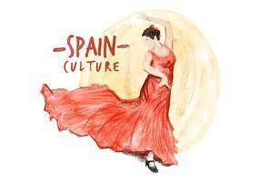Vecteur aquarelle de culture espagnole gratuite