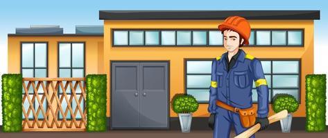 un ingénieur avec un plan d'esquisse debout devant le bâtiment vecteur