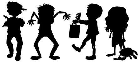 zombies en silhouette sur fond blanc