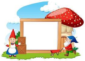 gnomes et champignon avec bannière vierge