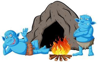 gobelins ou trolls avec maison troglodyte et feu de camp