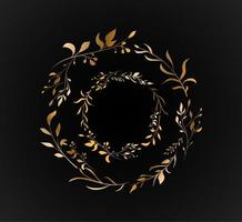 ensemble floral de feuilles d'or à double cercle
