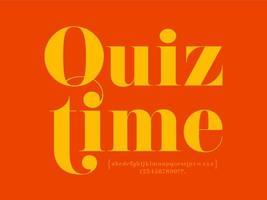 quiz time lettrage serif moderne avec alphabet vecteur