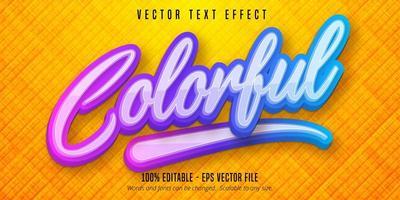 texte coloré, effet de texte modifiable de style dégradé multicolore vecteur