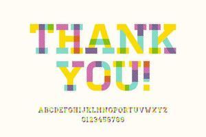 Merci typographie géométrique avec alphabet vecteur