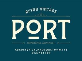 alphabet serif vintage rétro vecteur