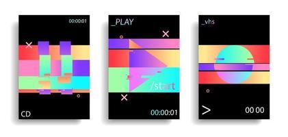 scintillement holographique glitched play, cercle, pause vecteur