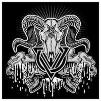 Crâne de bélier grunge avec symbole de la trinité et pentagramme