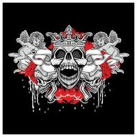 crâne grunge avec la conception de la couronne et des anges