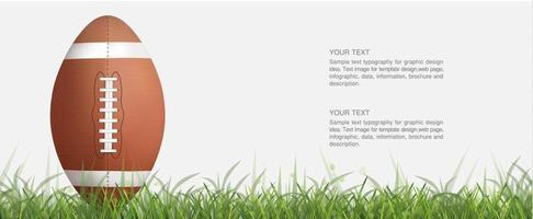 ballon de football ou de rugby vertical dans l'herbe verte vecteur