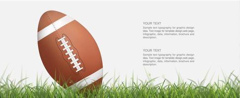 Ballon de football ou de rugby à angle dans l'herbe verte vecteur