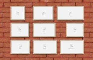 cadre photo vide sur la texture du mur de brique rouge vecteur