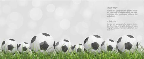 plusieurs soccer ou ballons de football dans l'herbe vecteur